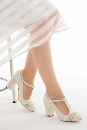 Ayakland Kadın Ekru Taşlı Abiye Ayakkabı Cmr G-04 7 cm