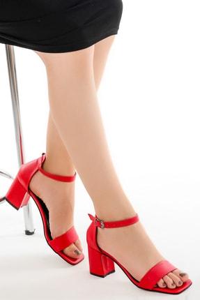 Ayakland Kadın Kırmızı Cilt 7 cm Topuk Sandalet Ayakkabı 6470-05