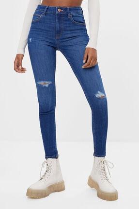 Bershka Kadın Mavi Yüksek Bel Skinny Jean