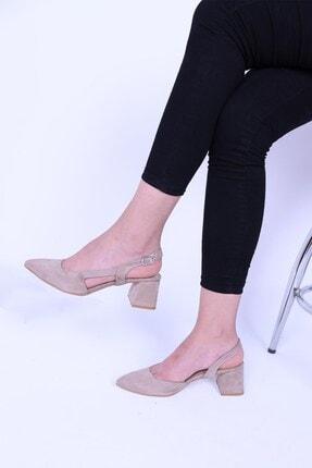 Derigo Kadın Ten Süet Topuklu Ayakkabı