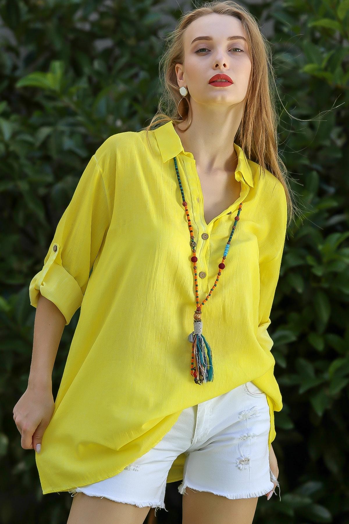 Chiccy Kadın Neon Sarı Casual Gömlek Yaka Pat Detaylı Yıkamalı Tunik Bluz M10010200Bl96076