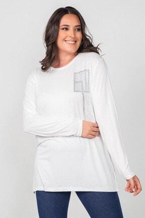 Womenice Kadın Büyük Beden Beyaz Te Amo Taş Baskılı Bluz
