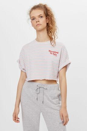 Bershka Kadın Pembe Desenli Crop T-shirt