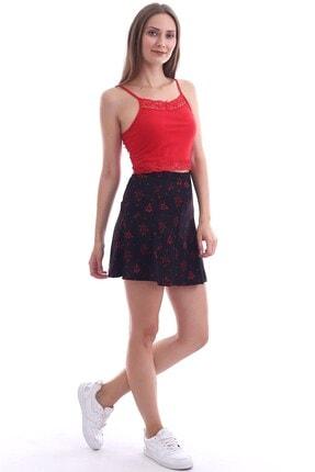Cotton Mood Kadın Sıyah Kırmızı Örme Krep Desenli Parçalı Kısa Etek