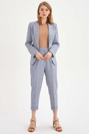Chima Kadın Mavi Lastikli Ekose Pantolon