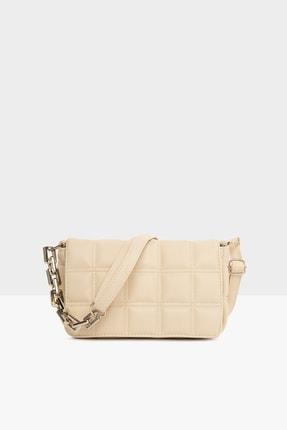 Bagmori Krem Kadın Nakışlı Kapaklı Mini Çanta M000004928