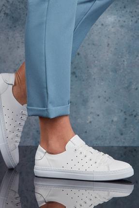 DARK SEER Hakiki Deri Beyaz Kadın Sneaker DS.RDM5095