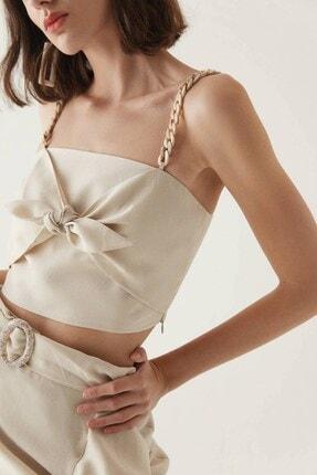 Rue Bej Zincir Askılı Düğüm Detaylı Bluz