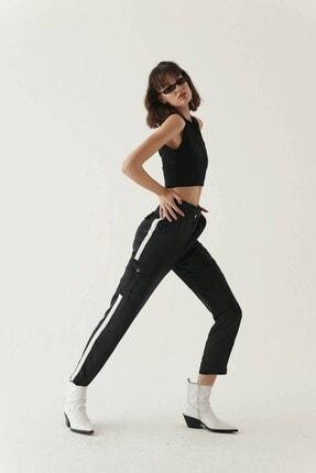 Rue Siyah Şerit Detaylı Cepli Pantolon