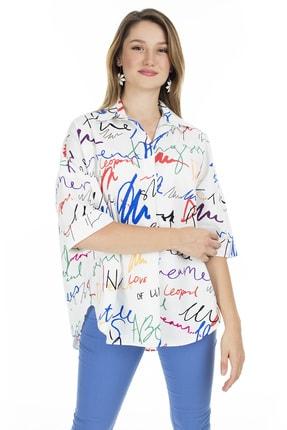 Ayhan Kadın Beyaz Baskılı Truvakar Kol Gömlek
