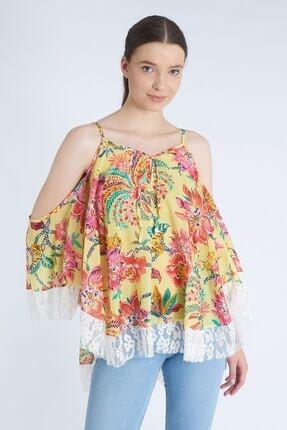 Home Store Kadın Sarı Çiçek Desenli Bluz 19107003617