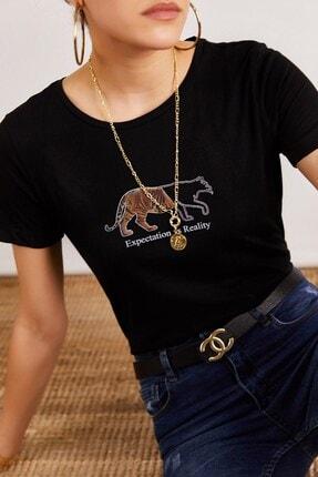 Boutiquen Kadın Siyah Kaplan Baskılı Yazılı T-shirt