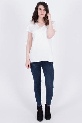 Samtoni Kadın Beyaz V Yaka Tshirt 55000245