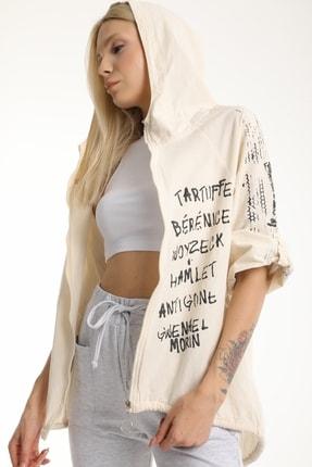 MD trend Kadın Taş Sırtı Kız Baskılı Yıkamalı Keten Ceket Mdt6893