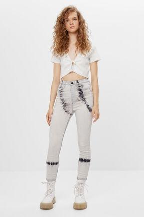 Bershka Kadın Krem Süper Yüksek Bel Pantolon