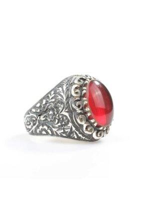 Nusret Takı Erkek Gümüş Oval Kırmızı Renk Taşlı Kalemli Yüzük