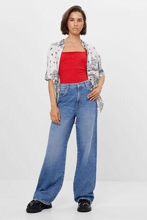 Bershka Kadın Mavi Wide Leg Jean