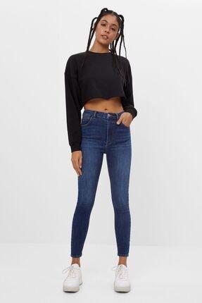Bershka Kadın Mavi Süper Yüksek Bel Jean