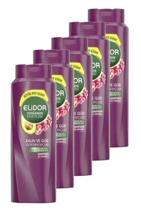 Elidor Doğanın Enerjisi Kalın Ve Gür Saçlar Avokado Özlü Saç Bakım Şampuanı 650 Ml. Beşli Set