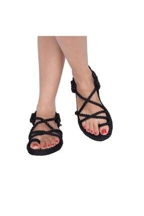 NOMADIC REPUBLIC Kadın Siyah Halat Sandalet