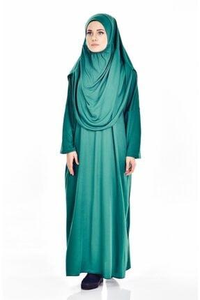 Zümrüt Yeşili Tek Parça Tesettür Kadın Elbisesi 4950