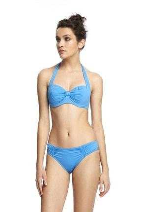 Reflections Kadın Mavi Mix Match Fiyonk Modelli Toparlayıcı Kapsız Sırt Ayarlabilen Düz Bikini Üst