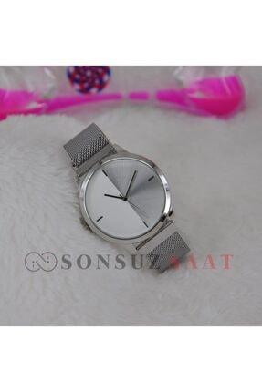Spectrum Gümüş Renk Kasa Mıknatıslı Hasır Kordonlu Trend Model Unisex Erkek Kol Saati Su-040