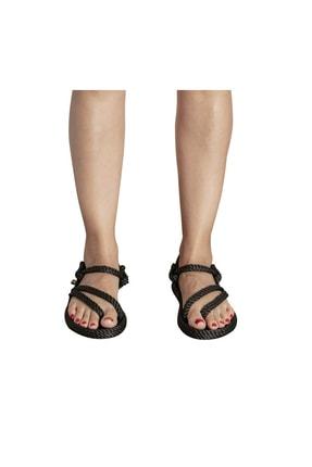NOMADIC REPUBLIC Kadın Siyah Cancun Halat İp Sandalet