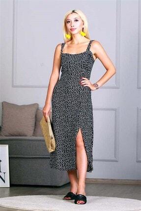 Madmext Kadın Siyah Kalpli Askılı Midi Elbise Mg649