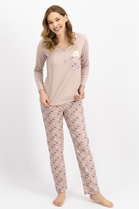 Arnetta Kadın Soluk Kahve Hedgehog Pijama Takımı