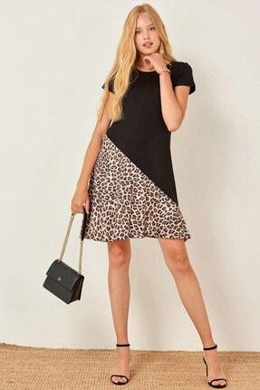 Boutiquen Kadın Siyah Leopar Eteği Garnili Kısa Kollu Elbise 2143