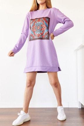 Xhan Kadın Lila Etnik Desen Sweatshirt Elbise