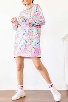 Xhan Kadın Renkli Oversize Sweatshirt Elbise