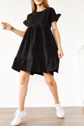 Xhan Kadın Siyah Fırfırlı Spor Elbise