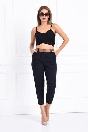 İroni Kadın Siyah Bel Lastikli Pamuk Pantolon
