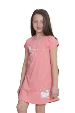 VİENETTA Kız Çocuk Pembe O Yaka Kep Kol Eteği Oval Tunik