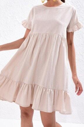 Boutiquen 2238 - Kadın Volanlı Keten Elbise