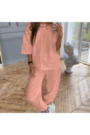 TREND Kadın pembe Rengi Örme Alt Üst Eşofman Takımı Pantolon