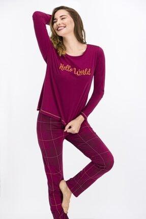 Arnetta Bayan Uzun Kol Hello World Pijama Takım