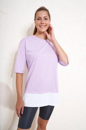 Eka Yakası Ve Eteği Parçalı T-shirt