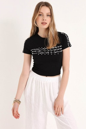 Home Store Kadın Sıyah T-Shirt 20250119046