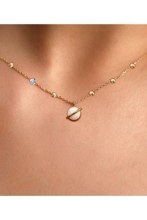 Demas Gold Pırlanta 14 Ayar Altın Dorikalı Avustralya Beyaz Opal Gezegen Kolye