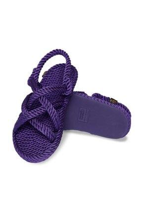 NOMADIC REPUBLIC Bodrum Kauçuk Tabanlı Kadın Halat Sandalet - Mor