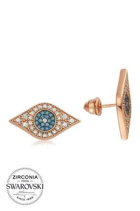 Valori Jewels Mavi Nazar Gözü, Swarovski Zirkon Mavi Ve Beyaz Taşlı, Rose Gümüş Küpe