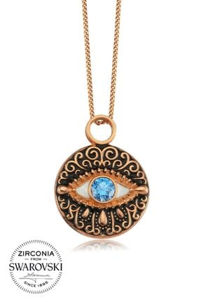 Valori Jewels Koyu Mavi Gözyaşı, Swarovski Zirkon Mavi Taşlı, Rose Gümüş Kolye