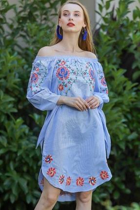 Chiccy Kadın Mavi Carmen Yaka Manolya Çiçeği Kol Ucu Bağlama Detaylı Etek Ucu Oval Elbise M10160000El96588
