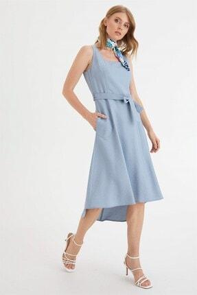 Chima Kadın Mavi Kare Yaka Elbise