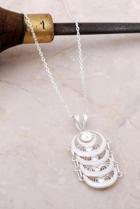 Sümer Telkari Telkari Işlemeli Pullu Gümüş Kolye 6896