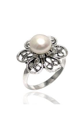 Midyat Gümüş Dünyası Inci Taşlı Telkari Gümüş Bayan Yüzük
