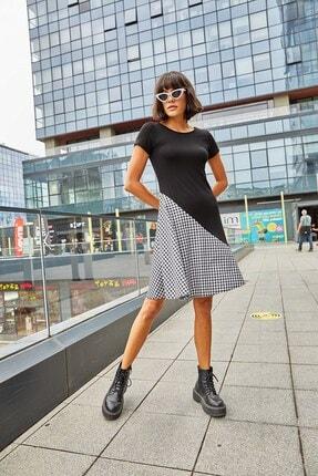 Boutiquen Kadın Siyah Beyaz Ekose Garnili Elbise 2230